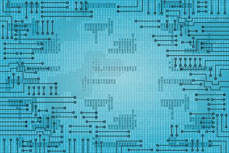 binaries: Drawing modern electronic circuit and  binary code