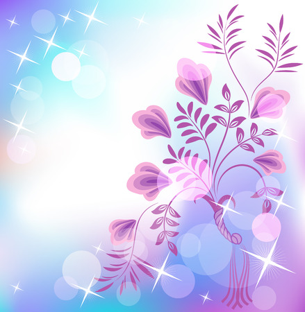 boke: Floral background with boke and shiny stars Illustration