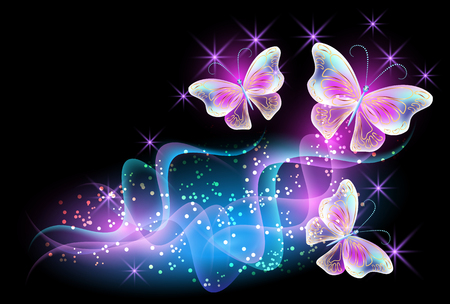 Fireworks and glowing magical butterflies