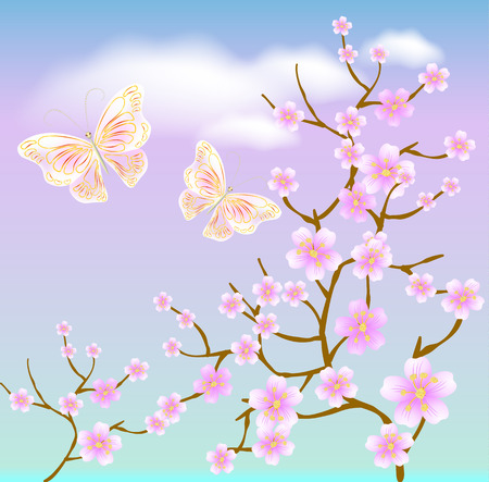 flowering: Flowering tree against a background of clouds and transparent butterflies Illustration