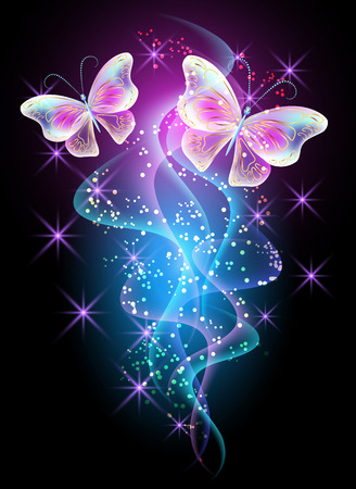 glowing: Fireworks and glowing magical butterflies
