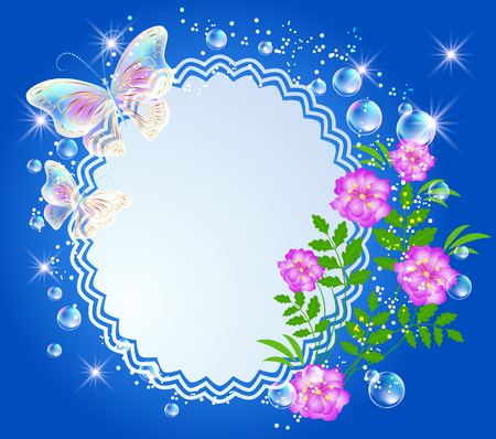 flowers bouquet: Magic background with flowers, butterflies, openwork frame and a place for text or photo