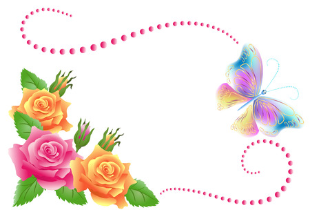 Flowers ornament and butterfly isolated on white background