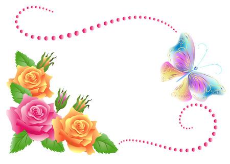 borde de flores: Ornamento de las flores y la mariposa aislados en el fondo blanco Vectores