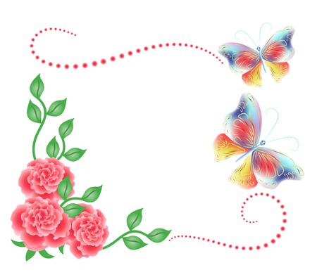 marcos decorados: Ornamento de las flores y las mariposas aisladas sobre fondo blanco