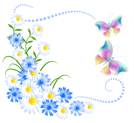 golden daisy: Flowers ornament and butterflies isolated on white background