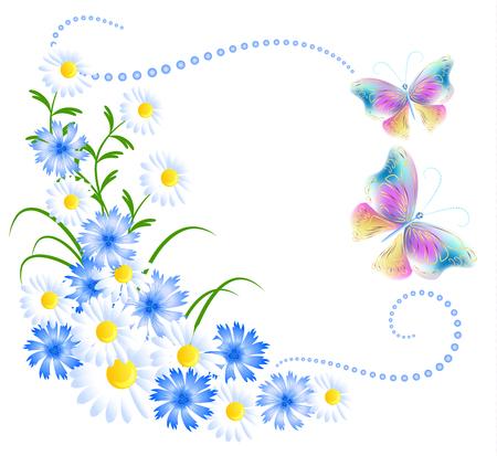 Ornamento de las flores y las mariposas aisladas sobre fondo blanco