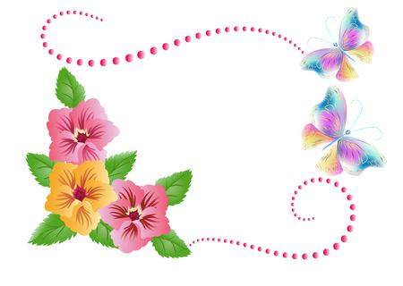 Fleurs ornement et papillons isolé sur fond blanc Vecteurs