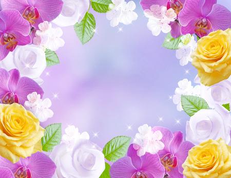 marco cumpleaños: orquídeas rosas y rosas en fondo de las estrellas que brilla intensamente