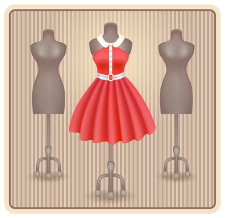 fashionable: Fashionable dress in retro style on dummy in shop or salon store Illustration