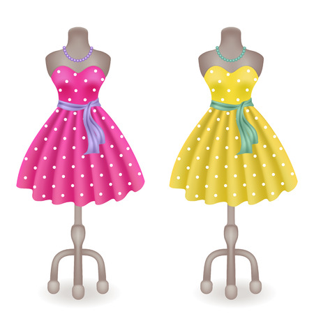 dummy: Fashionable dress with polka dots in retro style on dummy in shop or salon store