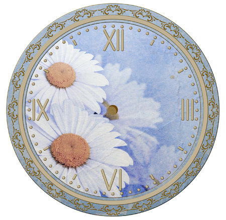 spring time: Clock face with vintage ornament and daisies flowers