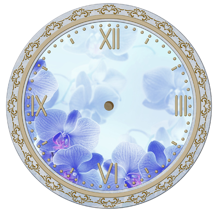 phal: Clock face with vintage ornament and orchid flowers. Decoupage card.