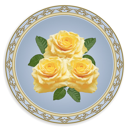 decoupage: Patterned plate with yellow roses and ornament for handmade in shabby chic style. Decoupage card.