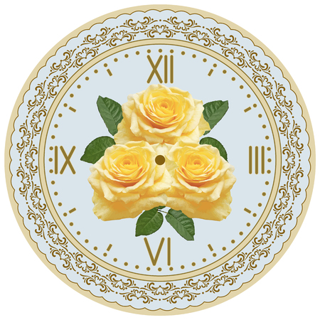 face card: Clock face with vintage ornament and roses flowers for decoupage. Decoupage card.