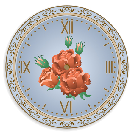 decoupage: Clock face with vintage ornament and roses flowers  for decoupage