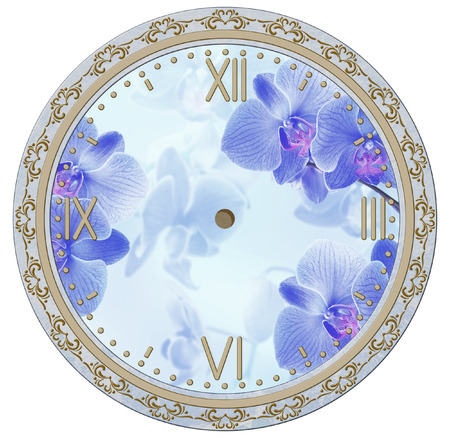decoupage: Clock face with vintage ornament and orchid flowers. Decoupage card.