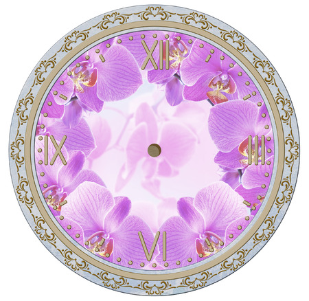 white face: Clock face with vintage ornament and orchid flowers. Decoupage card.