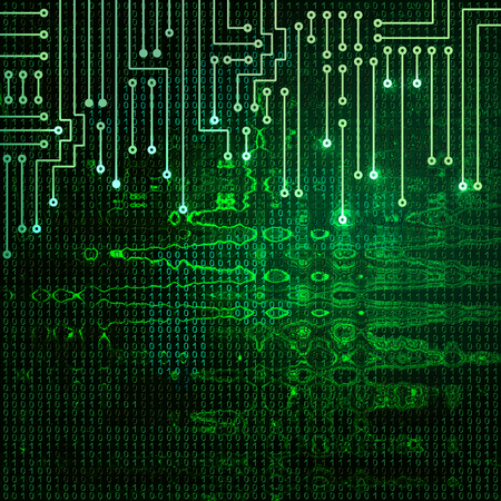 ruffle: Drawing modern electronic circuit on green ruffle background