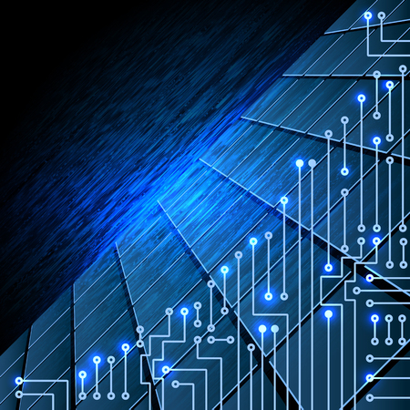 ruffle: Drawing modern electronic circuit on blue ruffle background