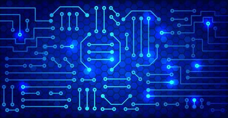 blue cells: Drawing modern electronic circuit on cells pattern and blue glowing background