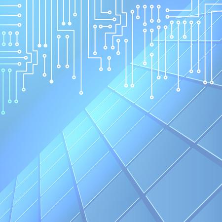 circuitos electronicos: Dibujo circuito electrónico moderno en el patrón de las células y el fondo azul brillante