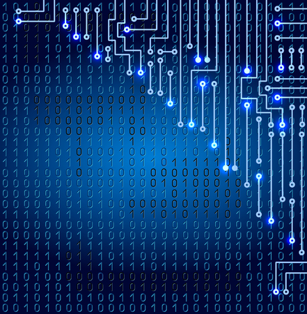 Drawing modern electronic circuit Drawing modern electronic circuit and binary code on blue background