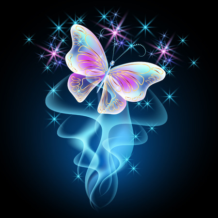 Fireworks and glowing magical butterfly