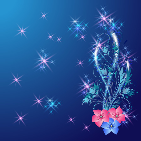 fab: Floral ornament with shiny stars and glowing firework Illustration