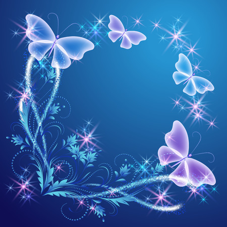 fab: Floral corner ornament with butterflies and shiny stars