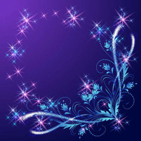 fab: Floral corner ornament with shiny stars and glowing firework Illustration