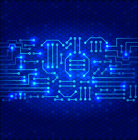 Drawing modern electronic circuit on cells pattern and blue glowing background