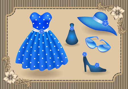 decoupage: Fashionable dress with polka dots in retro style and accessories  in shop or salon store on showcase in vintage frame with flowers ornament. Decoupage card. Illustration