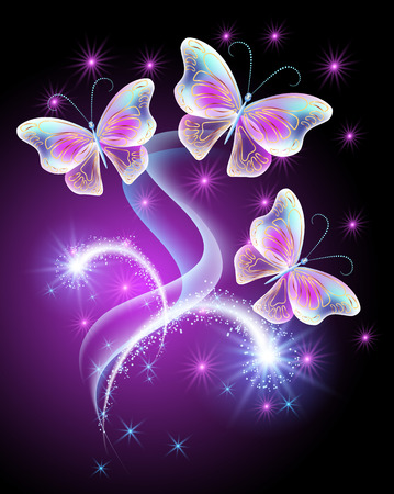 Neon butterflies with firework and shiny stars