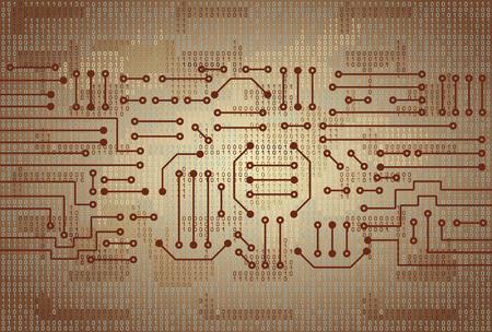 electronic circuit: Drawing modern electronic circuit and  binary code