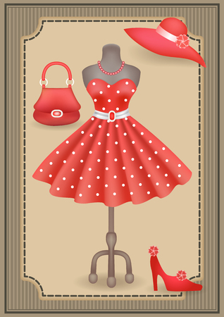 accessory: Fashionable dress with polka dots in retro style on dummy and accessories  in shop or salon store on showcase in vintage frame. Decoupage card.