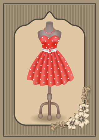 Fashionable dress with polka dots in retro style on dummy in shop or salon store on showcase in vintage frame with flowers ornament. Decoupage card.