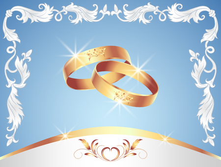 oath: Card with wedding rings in floral ornament frame