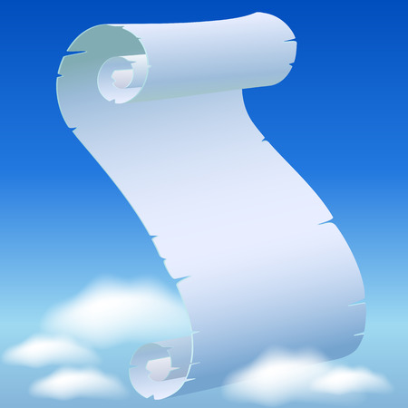 torn edges: Scroll parchment with torn edges in the blue sky