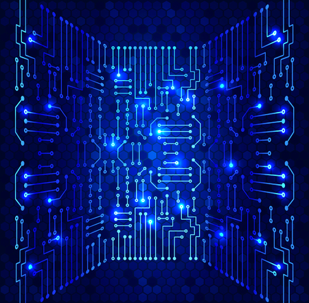 electronic background: Drawing modern electronic circuit on cells pattern and blue glowing background