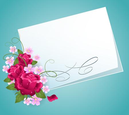 flores de cumpleaños: Fondo floral de rosas y una tarjeta para una inserción de texto