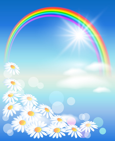 sun flowers: Rainbow with flowers and sun in the sky Illustration