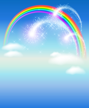 flecks: Rainbow in the sky and glowing salute Illustration