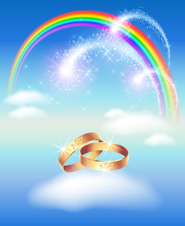vow: Card with wedding rings in heaven with rainbow and clouds and fireworks Illustration