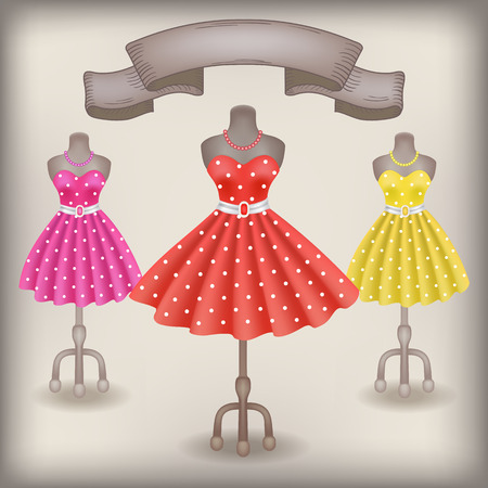 skirt: Fashionable dress with polka dots in retro style on dummy in shop or salon store