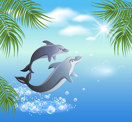 warm water fish: Dolphins leaps from water on the background of clouds and palms Illustration