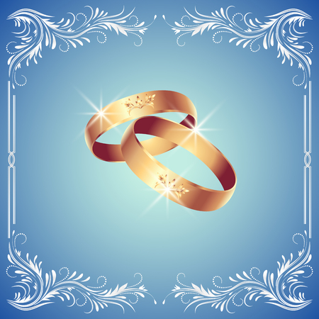 flecks: Card with wedding rings in floral ornament frame