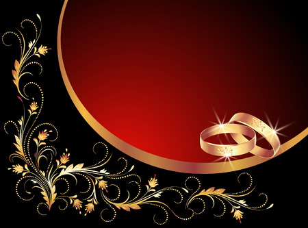 marido y mujer: Tarjeta con anillos de boda y el marco del ornamento floral