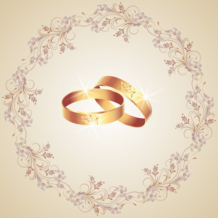 the spouse: Card with wedding rings and floral ornament frame