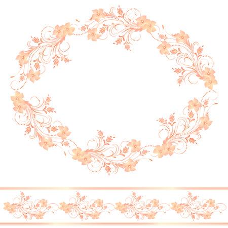 floral border: Decorative floral frame of ornament and border